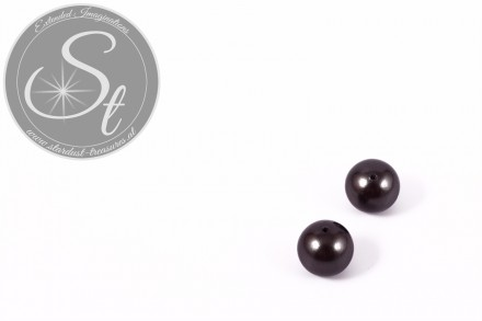 4 pcs. anthracite-colored round South Sea shell beads 10mm-31