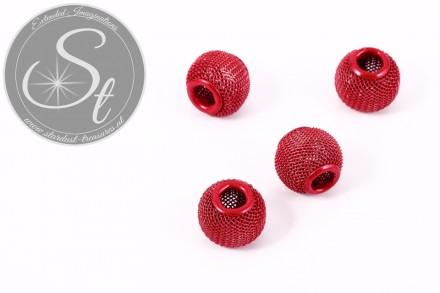 4 pcs. red metal mesh beads ~13mm-31