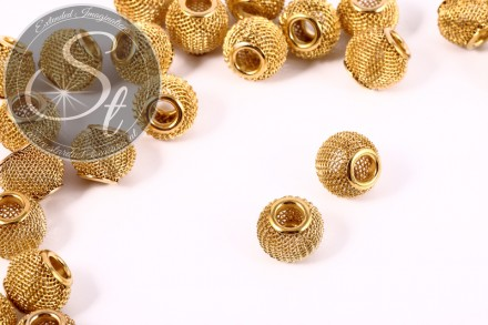 5 pcs. golden-colored metal mesh beads ~12mm-31
