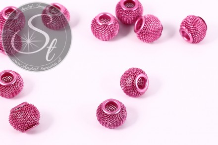 5 pcs. rose metal mesh beads ~12mm-31