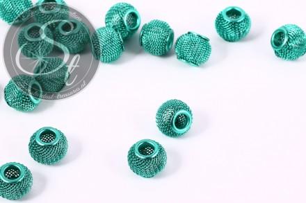 5 pcs. turquoise metal mesh beads ~12mm-31