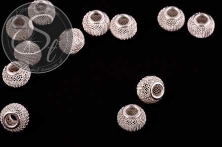 5 pcs. silver-colored metal mesh beads ~12mm-31