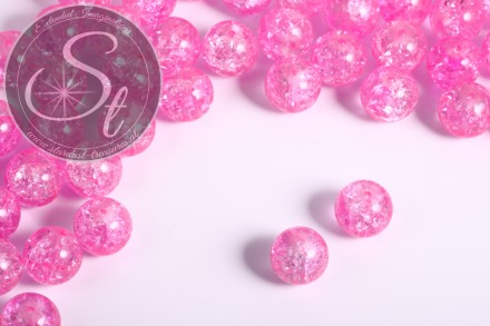 10 pcs. light-rose crackle glass beads 12mm-31