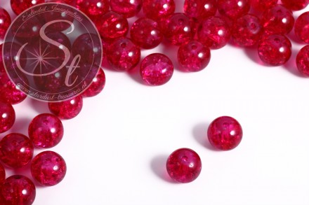 10 pcs. rosy crackle glass beads 12mm-31