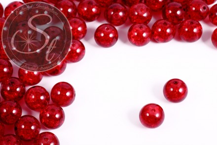 10 pcs. red crackle glass beads 12mm-31