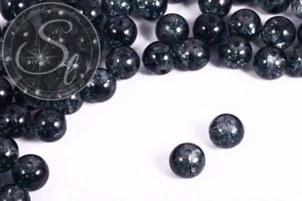 10 pcs. gray blue crackle glass beads 12mm-31