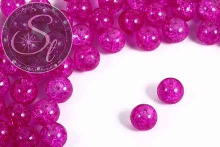 10 pcs. pink crackle glass beads 12mm-31