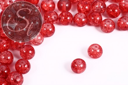 10 pcs. salmon-colored crackle glass beads 12mm-31