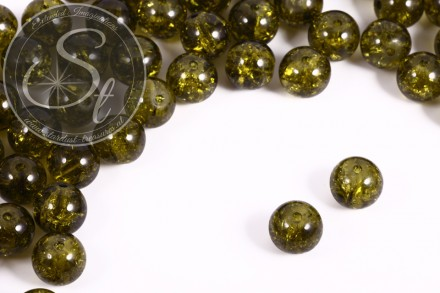 10 pcs. olive-green crackle glass beads 12mm-31