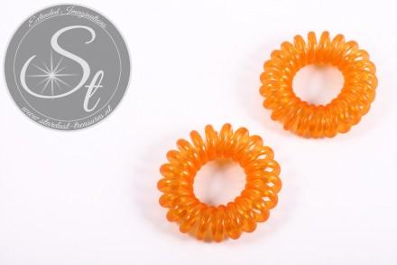 "2 pcs. orange elastic ""telephone cord"" hair ties 35-40mm-31"