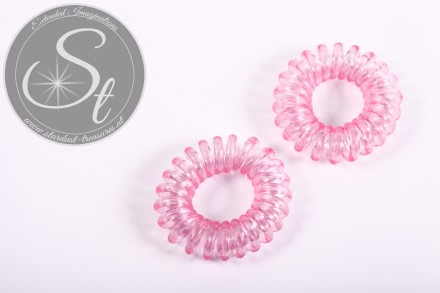 "2 pcs. rose elastic ""telephone cord"" hair ties 35-40mm-31"