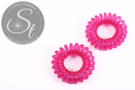 "2 pcs. pink elastic ""telephone cord"" hair ties 35-40mm-31"