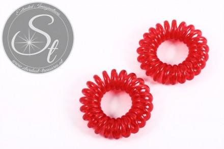"2 pcs. red elastic ""telephone cord"" hair ties 35-40mm-31"