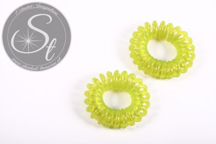 "2 pcs. green elastic ""telephone cord"" hair ties 35-40mm-31"