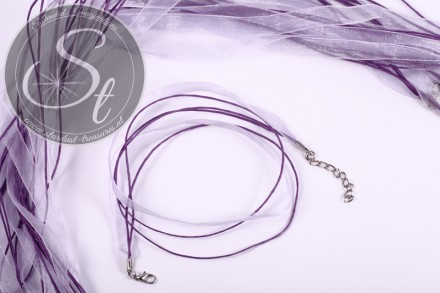 5 pcs. lilac organza/wax-cord necklaces 43cm-31