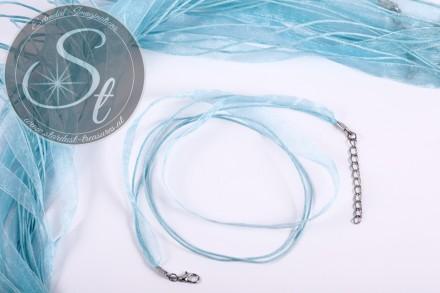 5 pcs. turquoise organza/wax-cord necklaces 43cm-31