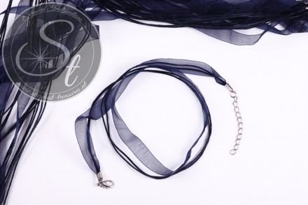 5 pcs. dark-blue organza/wax-cord necklaces 43cm-31