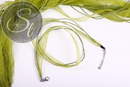5 pcs. green organza/wax-cord necklaces 43cm-31