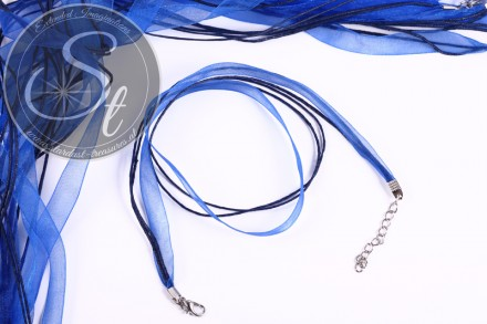 5 pcs. blue organza/wax-cord necklaces 43cm-31