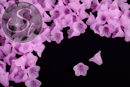 20 pcs. rose-lilac lucite-flowers frosted 14mm-31