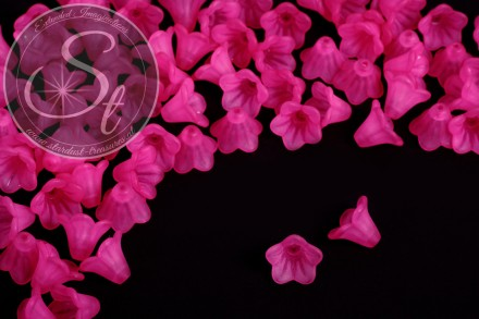 20 pcs. pink acrylic-flowers frosted 14mm-31