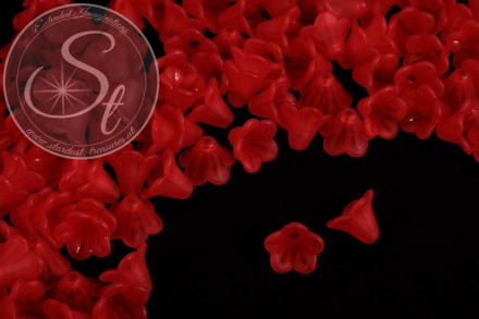 20 pcs. red acrylic-flowers frosted 15mm-31