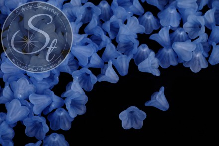 20 pcs. dark-blue lucite-flowers frosted 15mm-31