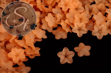 20 pcs. orange lucite-flowers frosted 18mm-31