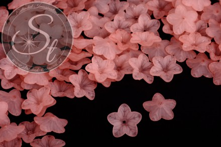 20 pcs. salmon-colored acrylic-flowers frosted 18mm-31