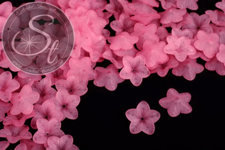 20 pcs. pink lucite-flowers frosted 18mm-31