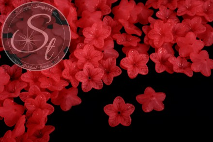 20 pcs. red acrylic-flowers frosted 18mm-31