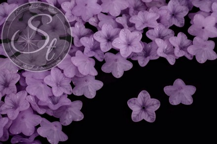 20 pcs. lilac lucite-flowers frosted 18mm-31