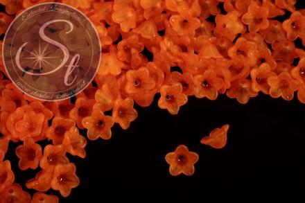 20 pcs. orange acrylic-flowers frosted 13mm-31