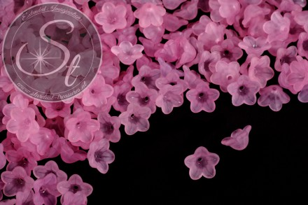 20 pcs. rose lucite-flowers frosted 13mm-31