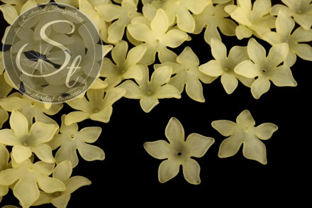 10 pcs. yellow lucite-flowers frosted 29mm-31