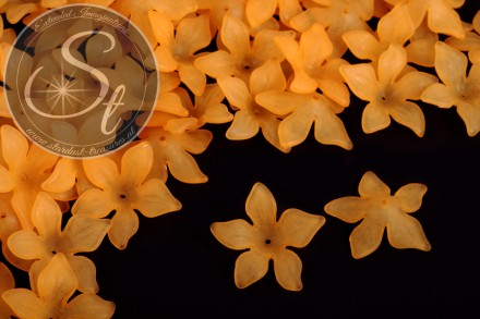 10 pcs. orange lucite-flowers frosted 29mm-31
