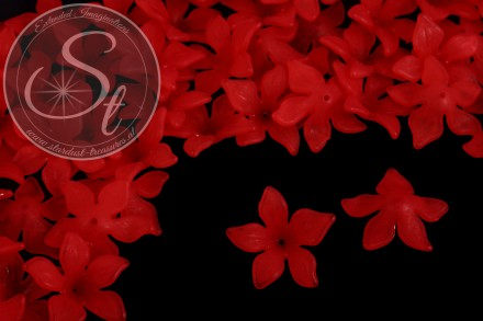 10 pcs. red acrylic-flowers frosted 29mm-31