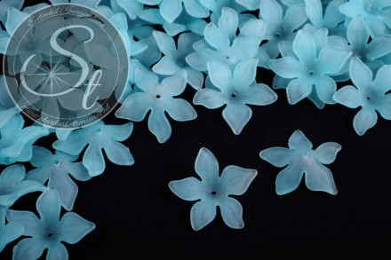 10 pcs. light-blue acrylic-flowers frosted 29mm-31
