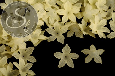 10 pcs. yellow lucite-flowers frosted 27mm-31