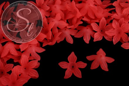 10 pcs. red lucite-flowers frosted 27mm-31