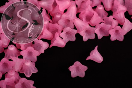 20 pcs. rose lucite-flowers frosted 18mm-31