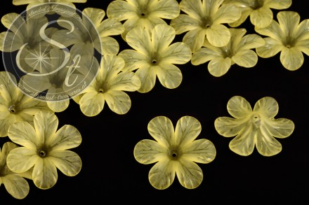 5 pcs. yellow lucite-flowers frosted 30mm-31