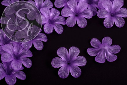5 pcs. lilac lucite-flowers frosted 30mm-31