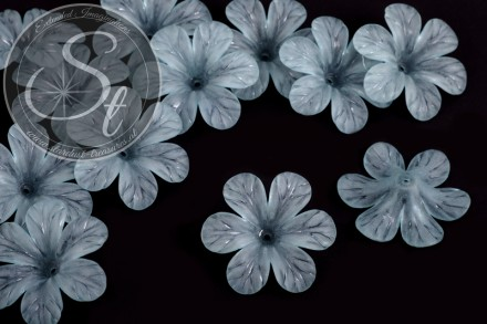 5 pcs. gray-blue lucite-flowers frosted 30mm-31