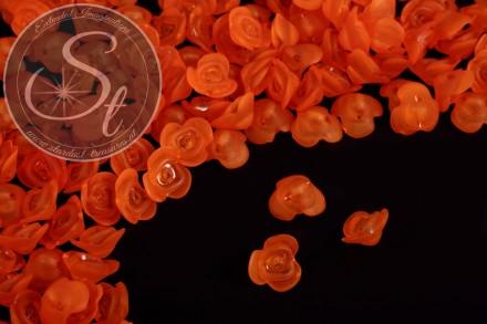 20 pcs. orange acrylic-flowers frosted 14mm-31