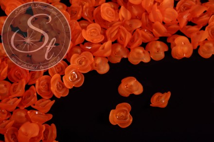 20 pcs. orange lucite-flowers frosted 14mm-31
