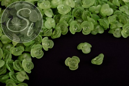 20 pcs. green acrylic-flowers frosted 14mm-31