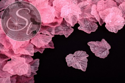 20 pcs. rose lucite-leaves frosted 24mm-31