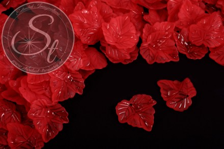20 pcs. red acrylic-leaves frosted 24mm-31
