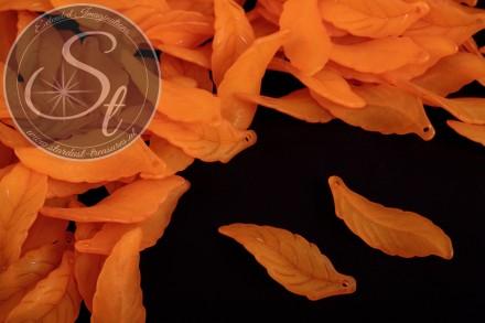 10 pcs. orange acrylic-leaves frosted 39mm-31